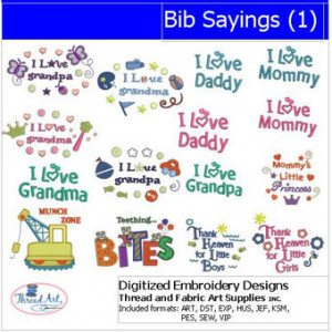 Machine Embroidery Designs - Bib Sayings(1)