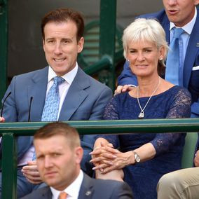 Anton du Beke and Judy Murray attend day six of the Wimbledon Tennis ...