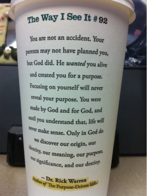 rick warren starbucks quote