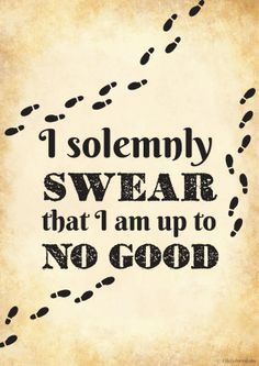 solemnly swear that I am up to no good. More