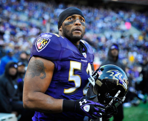 Ray Lewis at the Ravens' Super Bowl XLVII victory celebration: