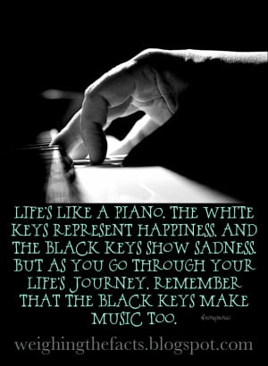 ... keys represent happiness and the black keys show sadness but as you go