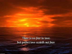 Perfect Love - perfect love, sunset, bible verse, ocean