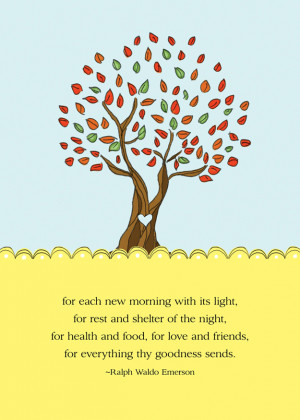 Gratitude Tree Free 5x7 mini print, Ralph Waldo Emerson quotes