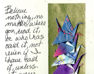 Handmade Crane Card, Origami Card, Best Wishes Card, Buddha Quotes ...