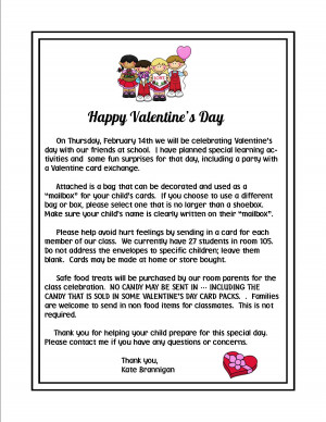 Valentine 39 s Day Parent Letter