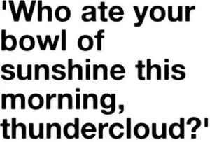 funny who ate your bowl of sunshine this morning thundercloud quote