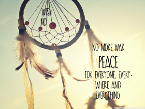 dreamcatcher, feather, love, peace, quote, text
