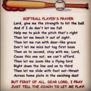 Softball players prayer