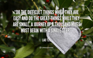 ... journey of a thousand miles must begin with a single step. - Lao Tzu