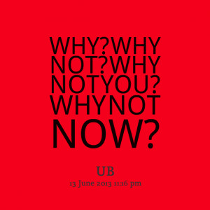 Quotes Picture: why? why not? why not you? why not now?