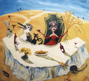 Dinner Party Dame - australian painting