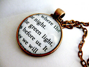 The Great Gatsby Quotes Book Page Necklace Green Light Orgastic Future ...