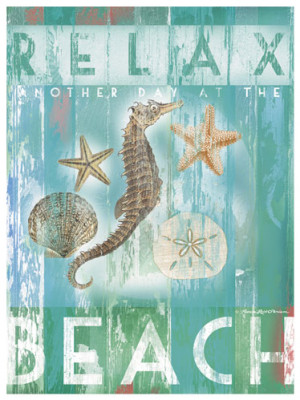 ... images including a seahorse, sand dollar, starfish and scallop shell