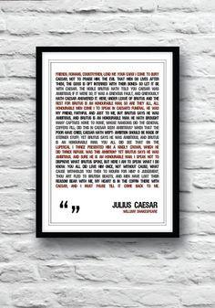 Shakespeare quote, Shakespeare poster, Julius Caesar Poster, quote ...