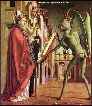 Bild 81: Der heilige Augustinus und der Teufel. Ölgemälde von ...