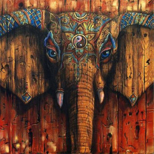 Trippy Wooden Elephant