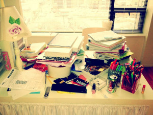 My desk after finals…papers, books and Dite Coke