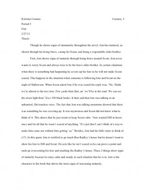 quotes from to kill a mockingbird that are showing maturity This student essay consists of approximately 4 pages of analysis of jem's maturity in to kill a mockingbird.