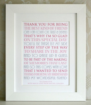 Thank You For Being My Bridesmaid by AngelGiftCompany on Etsy, £10.00