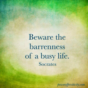 ... Socrates Picture Quotes - Beware the barrenness of a busy life