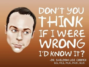 Sheldon Cooper Funny Quote from the Big Bang Theory show