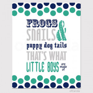 Frogs Snails Puppy Dog Tails Quote Wall Art Print, Dots Aqua Green ...