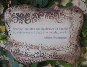 Inspirational William Shakespeare Quote Ceramic Plaque - Sepia