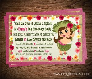 Hawaiian Hula Girl Luau Birthday Invitation