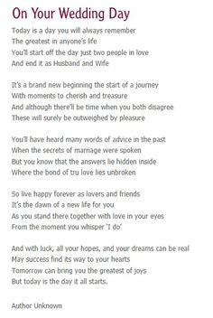 On your wedding day- reading for service More