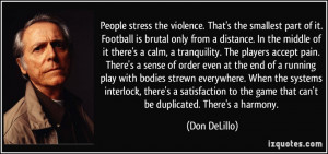 People stress the violence. That's the smallest part of it. Football ...