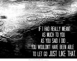... you wouldn't have been able to let go just like that Picture Quote #1