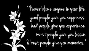 Motivational wallpaper on Life: Never blame anyone in your life