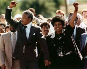 Mandela and his wife Winnie Mandela leaving the Victor Verster prison ...