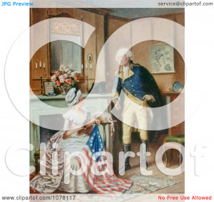 Betsy Ross Sewing the Flag - Royalty Free Historical Clip Art by JVPD