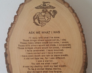 Ask Me What I Was Round Country Pla que - United States Marine ---US ...
