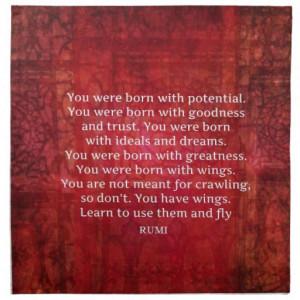 Rumi Encourage Inspirational Motivational QUOTE Napkin