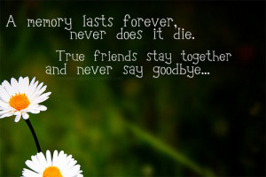 ... never does it die. true friends stay together and never say goodbye