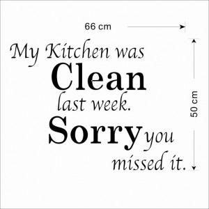 ... Kitchen was clean last week Sorry you missed it.