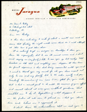 Image of Letter from Jackie Robinson to Branch Rickey, 1950
