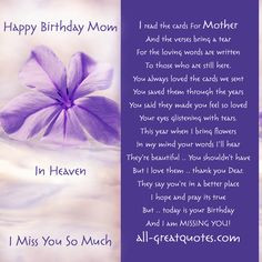Moms Birthday in Heaven | In Loving Memory - Happy Birthday Mom In ...