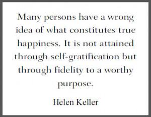 Helen Keller Quote on True Happiness