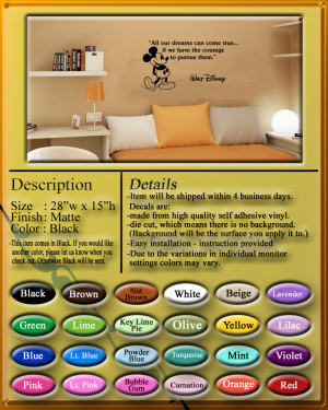 Details about Disney Mickey Mouse dreams come true wall quote vinyl ...