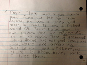 My 8 year old cousin wrote about James Bond