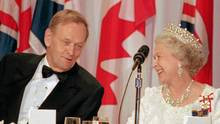 Queen Elizabeth and Prime Minister Jean Chretien smile at the ...