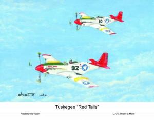 Tuskegee Red Tails Poster Dennis Vebert