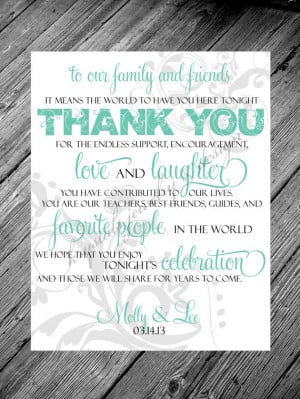 Thank You Family and Friends Quote Reception Card Sign - Metallic or ...