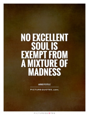 No excellent soul is exempt from a mixture of madness Picture Quote 1