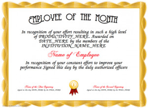Employee of the Month - Here is our free Certificate for your Employee ...
