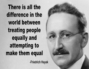 Friedrich Hayek Equality Quote Poster